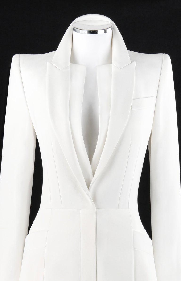 ALEXANDER McQUEEN S/S 2015 White Tailored Classic Structure Longline Coat Dress  Brand / Manufacturer: Alexander McQueen Collection: S/S 2015 Designer: Sarah Burton Style: Long sleeve a-line blazer jacket dress Color(s): White Lined: Yes Marked