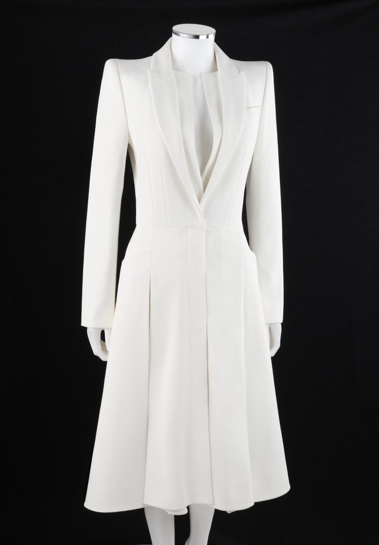 Gray ALEXANDER McQUEEN S/S 2015 White Tailored Classic Structure Longline Coat Dress For Sale