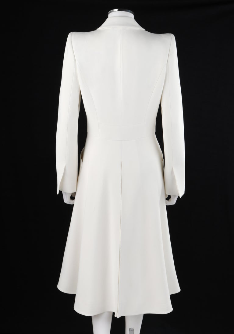 Women's ALEXANDER McQUEEN S/S 2015 White Tailored Classic Structure Longline Coat Dress For Sale