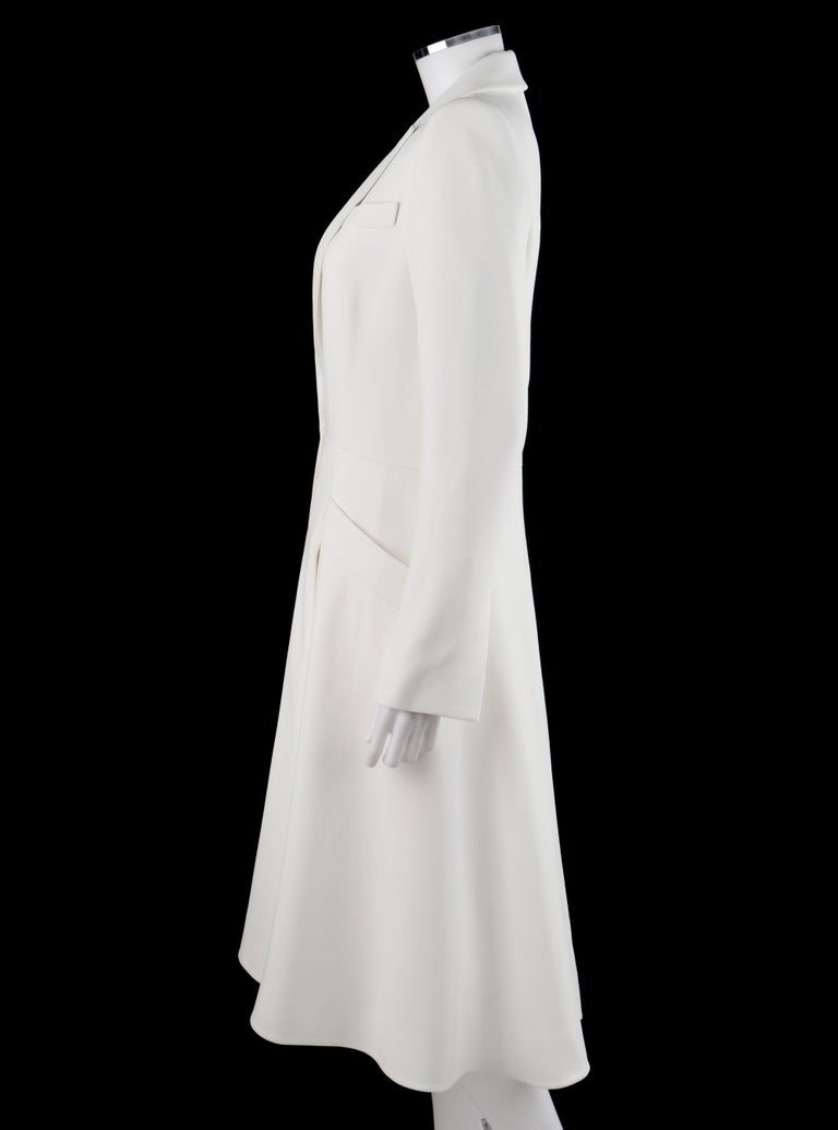 ALEXANDER McQUEEN S/S 2015 White Tailored Classic Structure Longline Coat Dress For Sale 1
