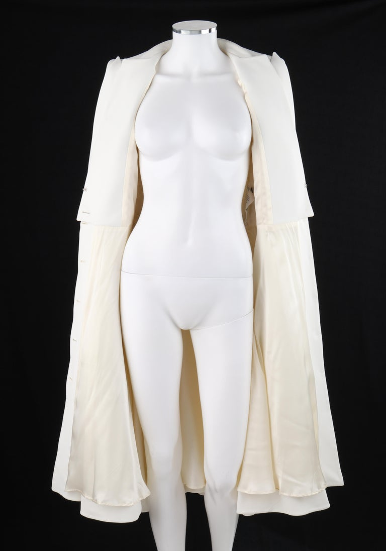 ALEXANDER McQUEEN S/S 2015 White Tailored Classic Structure Longline Coat Dress For Sale 2