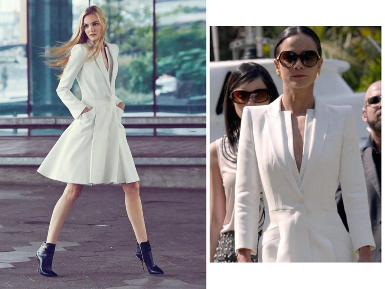 ALEXANDER McQUEEN S/S 2015 White Tailored Classic Structure Longline Coat Dress For Sale 3