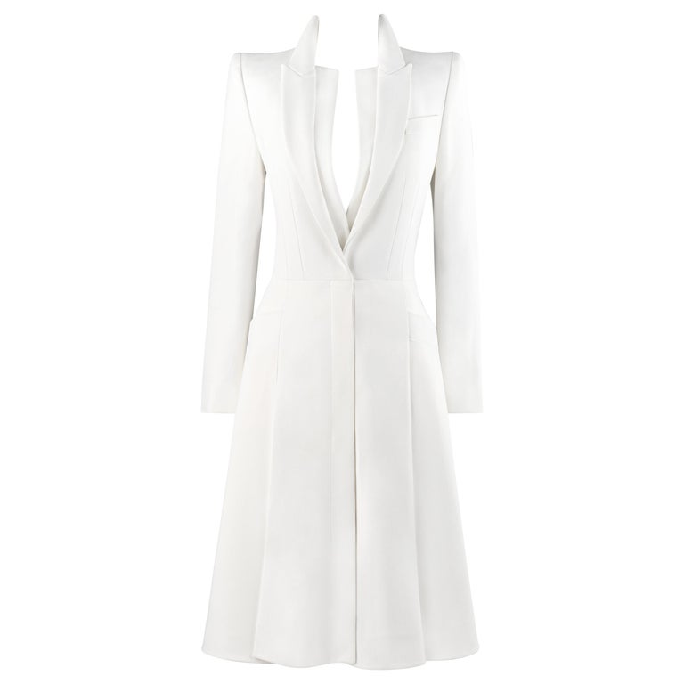 ALEXANDER McQUEEN S/S 2015 White Tailored Classic Structure Longline Coat Dress For Sale