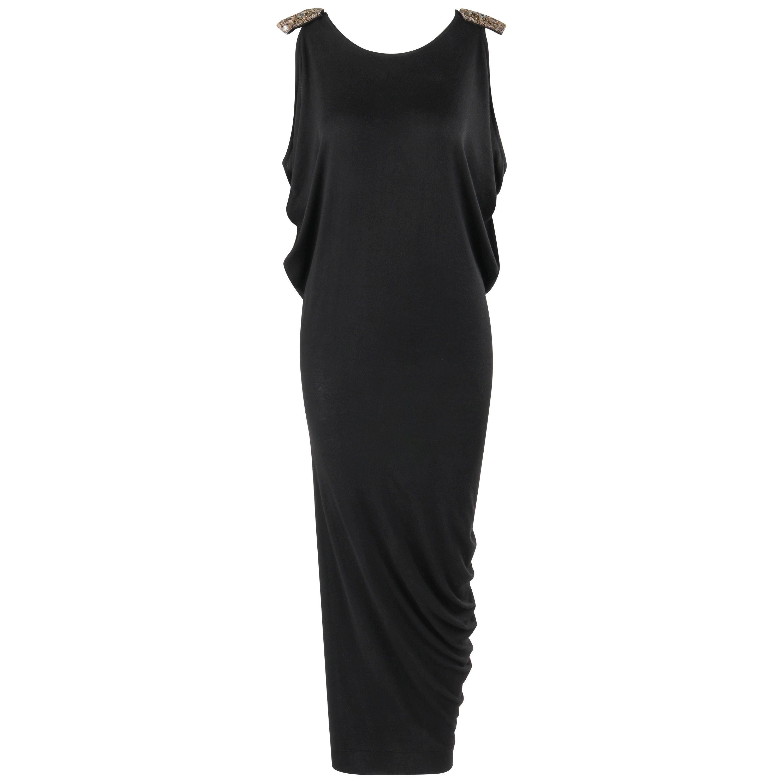ALEXANDER McQUEEN S/S 2017 Black Draped Gold Beaded Shoulder Evening Dress Gown