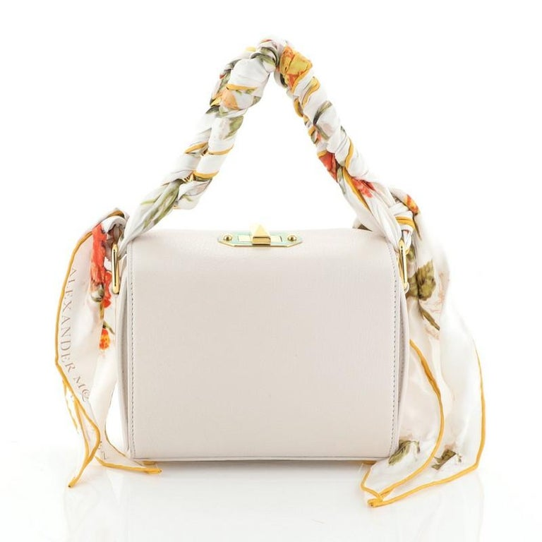 Women's or Men's Alexander McQueen Scarf Box Shoulder Bag Leather 16  For Sale