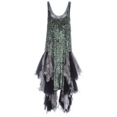 Alexander McQueen Sequin and lace tulle flapper dress, A/W 2001