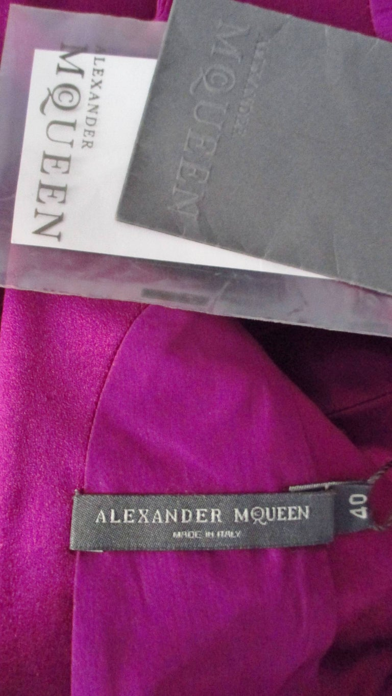 Alexander McQueen New Silk Plunge Back Dress For Sale 10