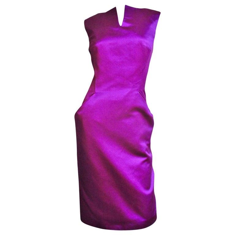 Alexander McQueen Silk Deep V Back Dress For Sale