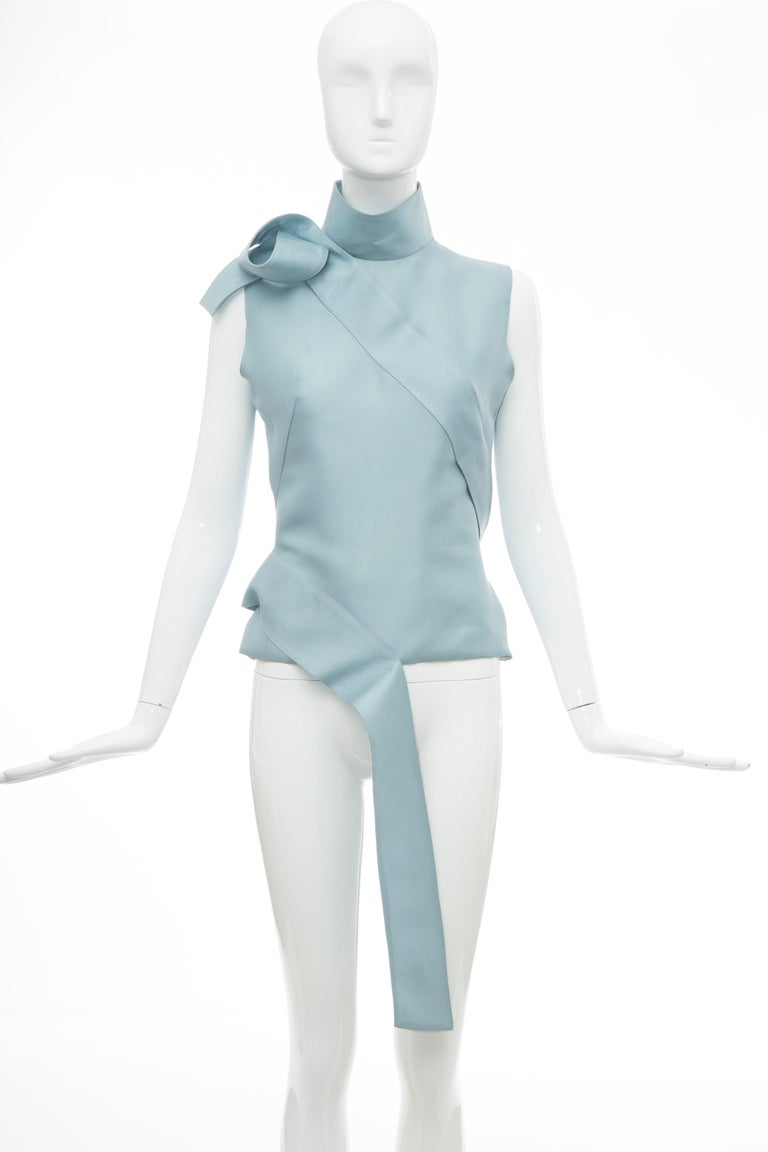 Alexander McQueen, Dante Collection, Fall 1996, cornflower blue silk gazar sleeveless turtleneck top with tonal stitching, layered accents throughout and concealed zip closure at back.  IT. 40. US. 4  Bust: 34, Waist: 28, Length: 22  Fabric: 100%