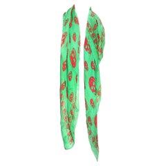 Alexander McQueen Silk Skull Scarf (Green)