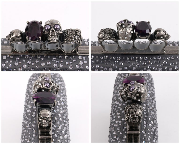 ALEXANDER McQUEEN Silver Grey Crystal Embellished Knuckle-Duster Box Clutch 5