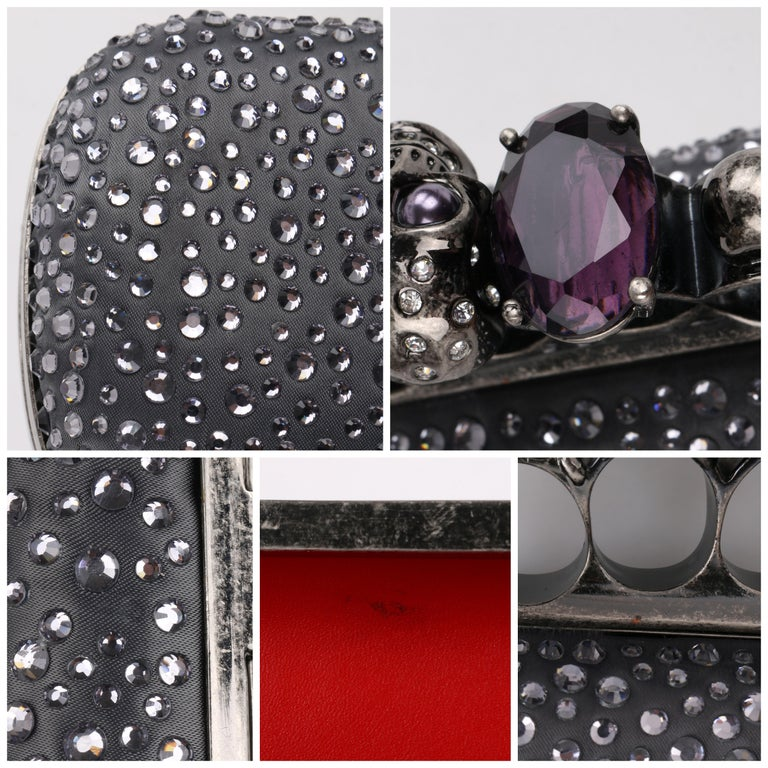 ALEXANDER McQUEEN Silver Grey Crystal Embellished Knuckle-Duster Box Clutch 7