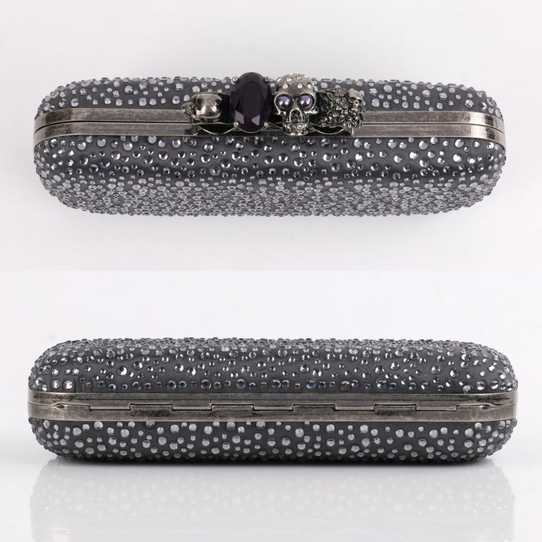 ALEXANDER McQUEEN Silver Grey Crystal Embellished Knuckle-Duster Box Clutch 2