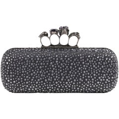 ALEXANDER McQUEEN Silver Grey Crystal Embellished Knuckle-Duster Box Clutch