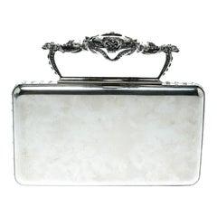 Alexander McQueen Silver Metal Small Ottone Jewelled Clutch