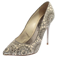 Alexander McQueen Silver/Off White Lace Crystal Pointed Toe Pumps Size 39.5