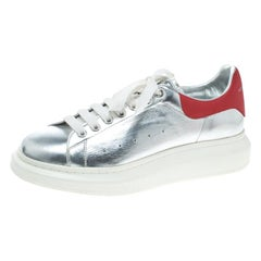 Alexander McQueen Silver/Red Leather Classic Larry Lace Up Sneakers Size 45