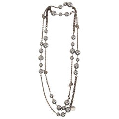 ALEXANDER MCQUEEN silver-tone brass FAUX PEARL & SKULL Necklace