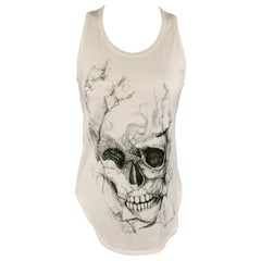 ALEXANDER MCQUEEN Size 2 White Cotton Smoke SKull Graphic Tank