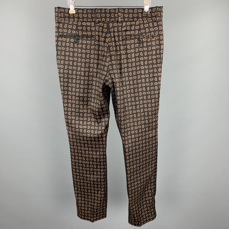 Men's ALEXANDER MCQUEEN Size 30 Black Paisley Wool / Silk Zip Fly Casual Pants For Sale