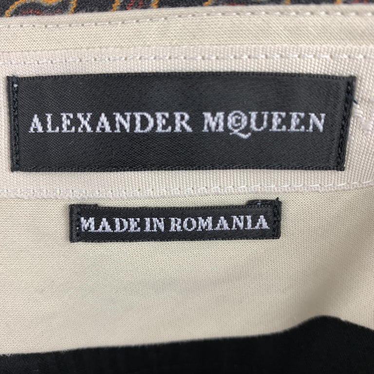 ALEXANDER MCQUEEN Size 30 Black Paisley Wool / Silk Zip Fly Casual Pants For Sale 1