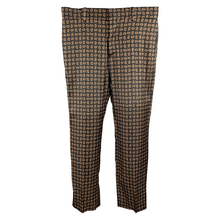 ALEXANDER MCQUEEN Size 30 Black Paisley Wool / Silk Zip Fly Casual Pants For Sale