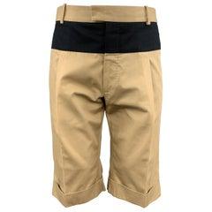 ALEXANDER MCQUEEN Size 30 Khaki Navy Stripe SIngle Pleat Bermuda Shorts