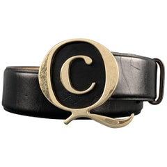 ALEXANDER MCQUEEN Size 34 Black Leather Brass Q Buckle Belt