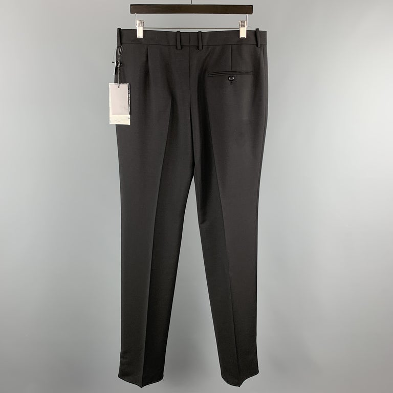 ALEXANDER MCQUEEN Size 34 Black Solid Wool / Mohair Button Fly Dress Pants In New Condition For Sale In San Francisco, CA