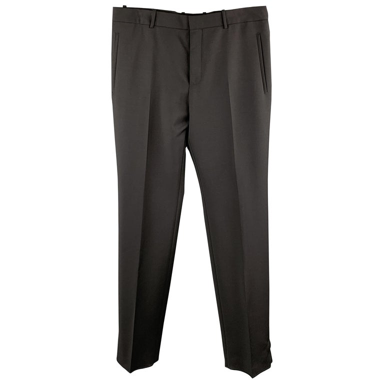 ALEXANDER MCQUEEN Size 34 Black Solid Wool / Mohair Button Fly Dress Pants For Sale