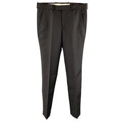 ALEXANDER MCQUEEN Size 34 Black Wool / Mohair Zip Fly Dress Pants