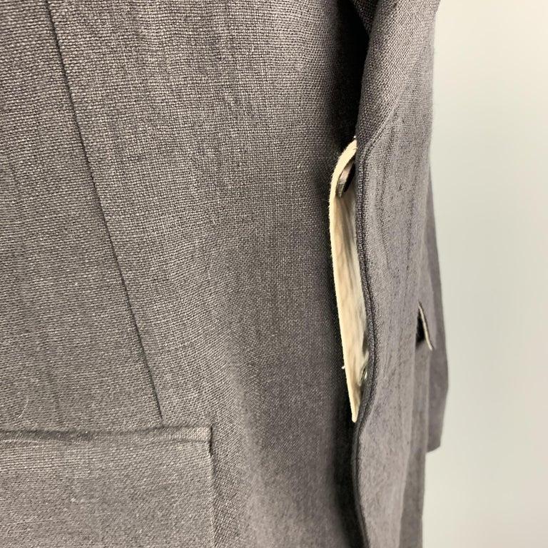 Men's ALEXANDER MCQUEEN Size 42 Black Linen Notch Lapel Hidden Button Sport Coat For Sale