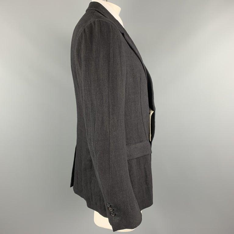 ALEXANDER MCQUEEN Size 42 Black Linen Notch Lapel Hidden Button Sport Coat For Sale 1