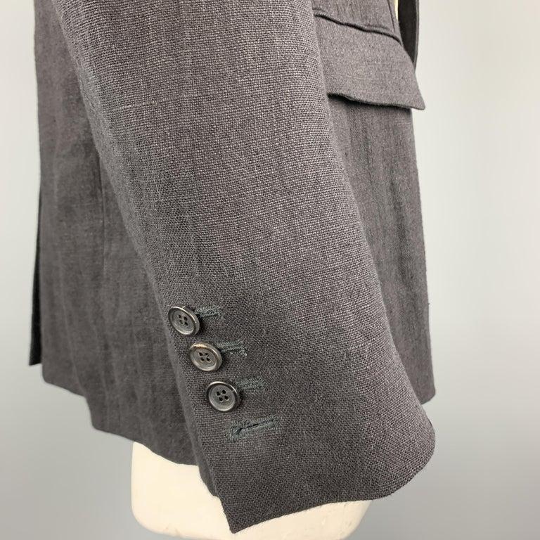 ALEXANDER MCQUEEN Size 42 Black Linen Notch Lapel Hidden Button Sport Coat For Sale 2