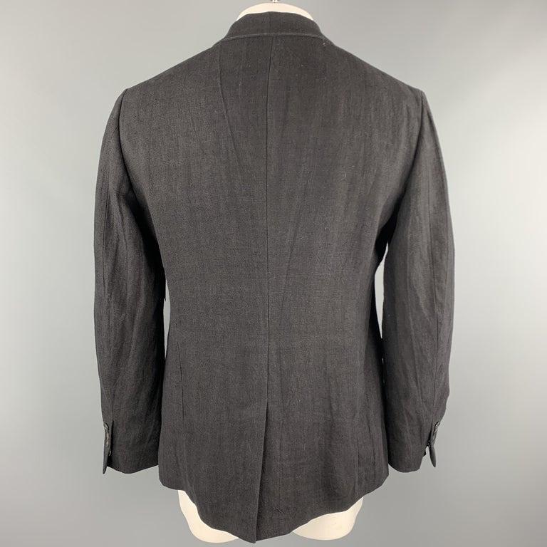 ALEXANDER MCQUEEN Size 42 Black Linen Notch Lapel Hidden Button Sport Coat For Sale 3