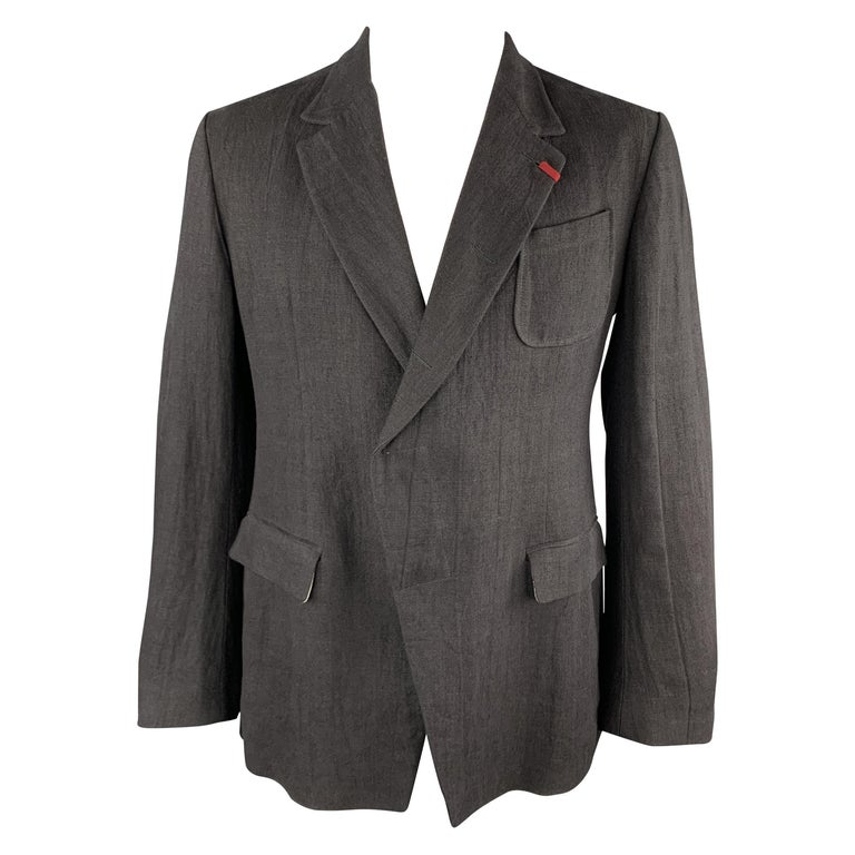 ALEXANDER MCQUEEN Size 42 Black Linen Notch Lapel Hidden Button Sport Coat For Sale