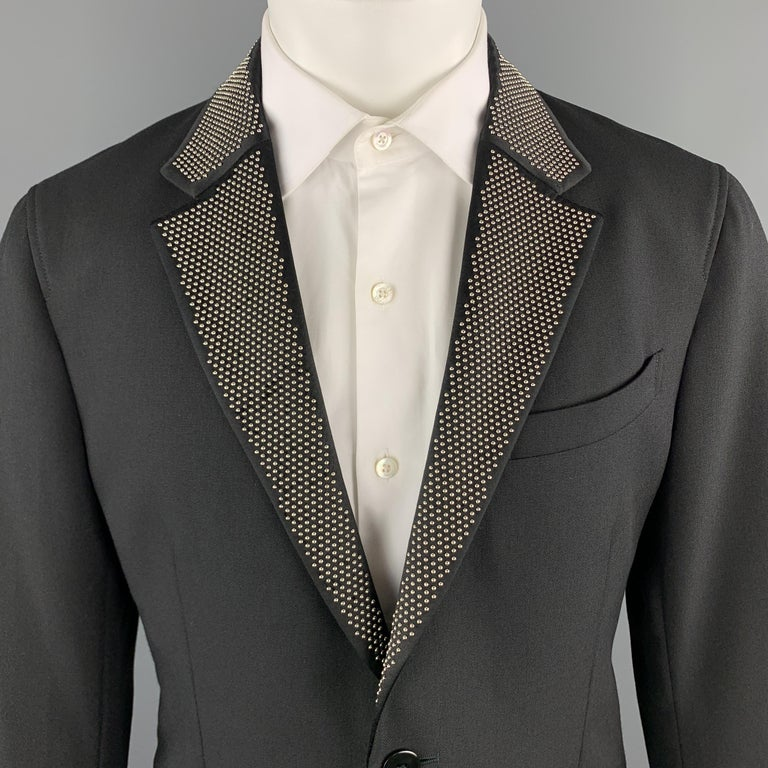 ALEXANDER MCQUEEN sport coat comes in black wool mohair blend gabardine with a silver tone studded satin notch lapel, single breasted, two button front, and single vented back. Made in Italy.  Excellent Pre-Owned Condition. Marked: IT