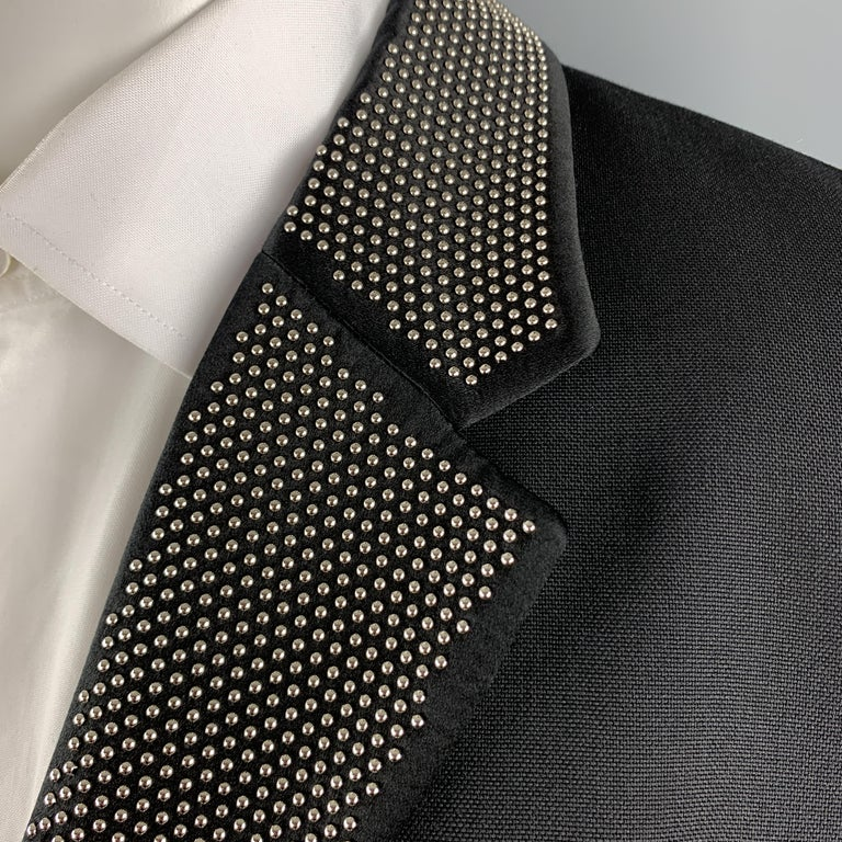 ALEXANDER MCQUEEN Size 42 Black Studded Notch Lapel Wool / Mohair Sport Coat In Excellent Condition For Sale In San Francisco, CA