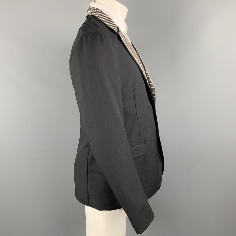 Men's ALEXANDER MCQUEEN Size 42 Black Studded Notch Lapel Wool / Mohair Sport Coat For Sale