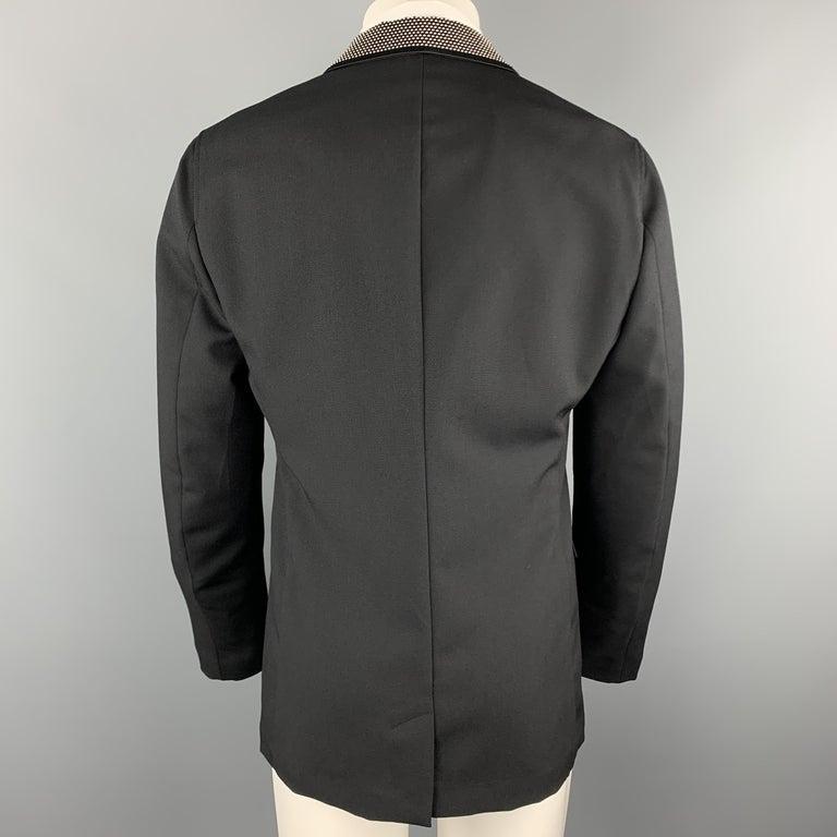 ALEXANDER MCQUEEN Size 42 Black Studded Notch Lapel Wool / Mohair Sport Coat For Sale 1