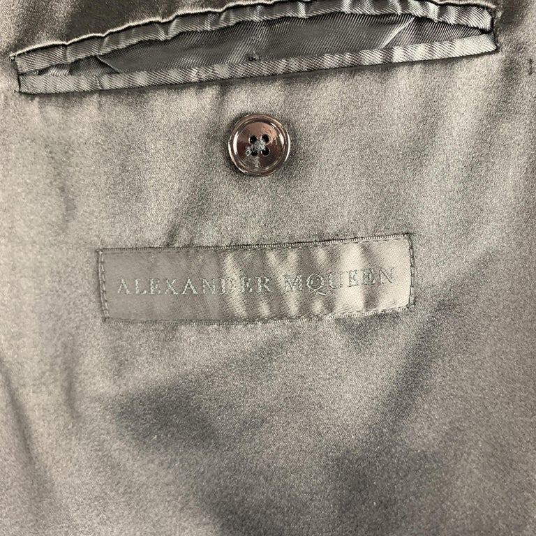 ALEXANDER MCQUEEN Size 42 Black Studded Notch Lapel Wool / Mohair Sport Coat For Sale 3
