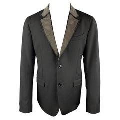 ALEXANDER MCQUEEN Size 42 Black Studded Notch Lapel Wool / Mohair Sport Coat