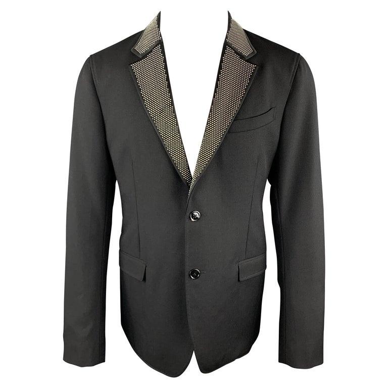 ALEXANDER MCQUEEN Size 42 Black Studded Notch Lapel Wool / Mohair Sport Coat For Sale