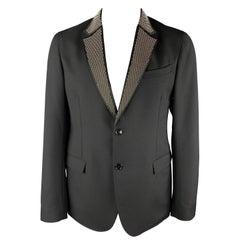 ALEXANDER MCQUEEN Size 44 Black Studded Lapel Wool / Mohair Sport Coat