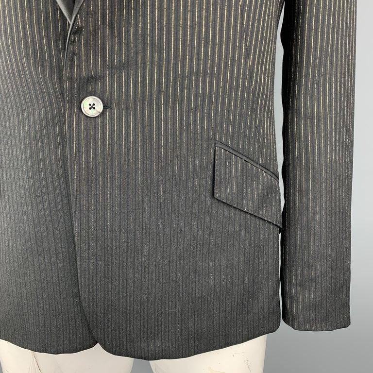 Black ALEXANDER MCQUEEN Size 44 Charcoal & Gold Striped Shiny Peak Lapel Sport Coat For Sale