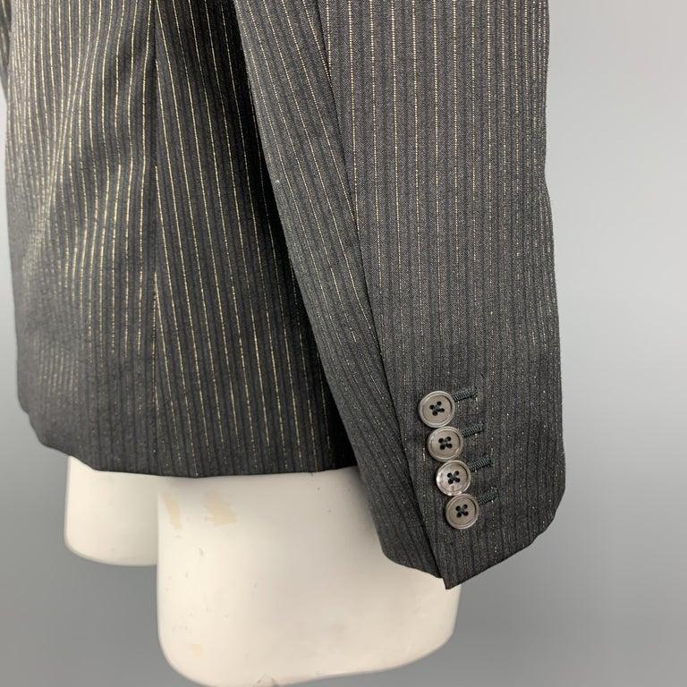 Men's ALEXANDER MCQUEEN Size 44 Charcoal & Gold Striped Shiny Peak Lapel Sport Coat For Sale