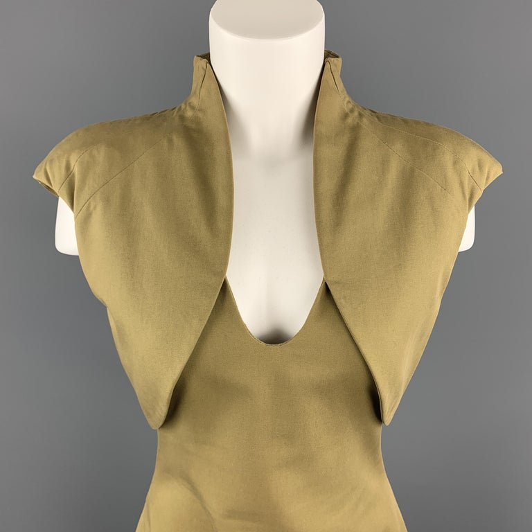 Archive ALEXANDER MCQUEEN dress come sin muted olive khaki green cotton canvas with a V neck, and padded, high collar, bolero style top.   Excellent Pre-Owned Condition. Marked: IT 42  Measurements:  Shoulder: 19 in. Bust: 37 in. Waist: 29 in. Hip: