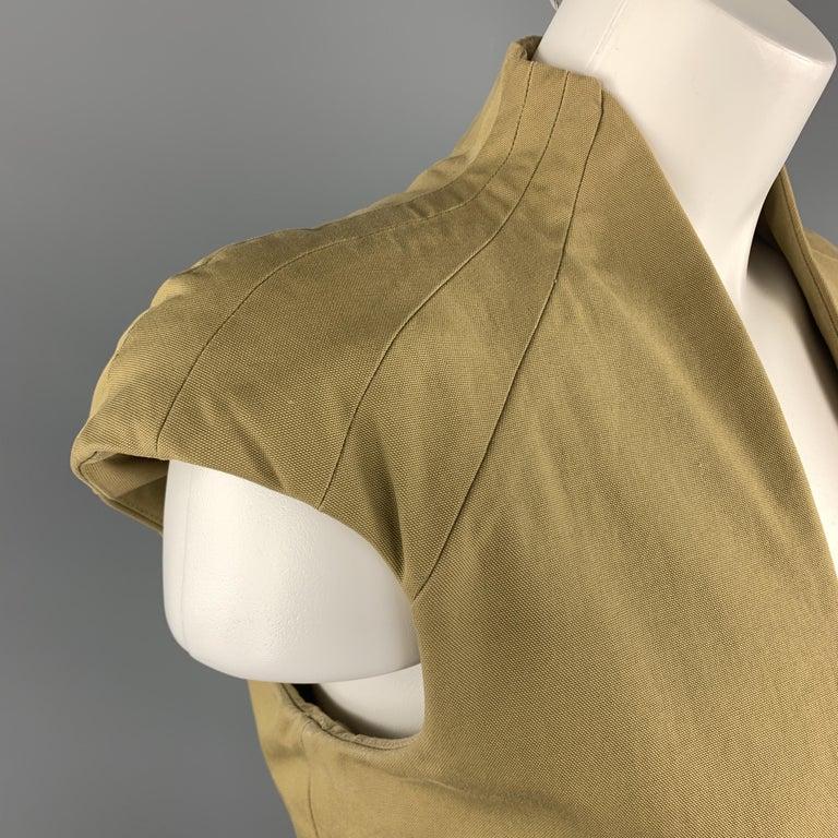 Beige ALEXANDER MCQUEEN Size 6 Khaki Green Cotton Canvas Bolero Dress