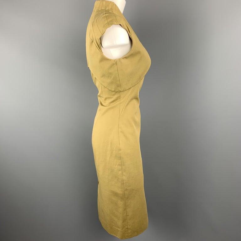ALEXANDER MCQUEEN Size 6 Khaki Green Cotton Canvas Bolero Dress In Excellent Condition In San Francisco, CA