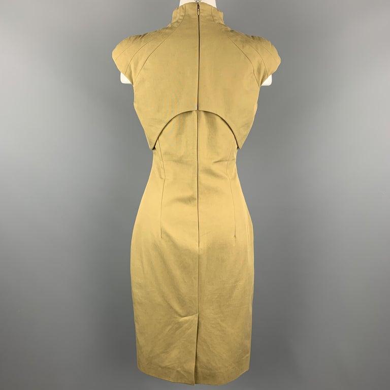 Women's ALEXANDER MCQUEEN Size 6 Khaki Green Cotton Canvas Bolero Dress